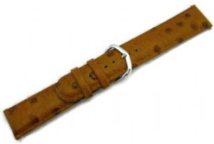 Ostrich Spot Grain Padded Leather Watch Strap